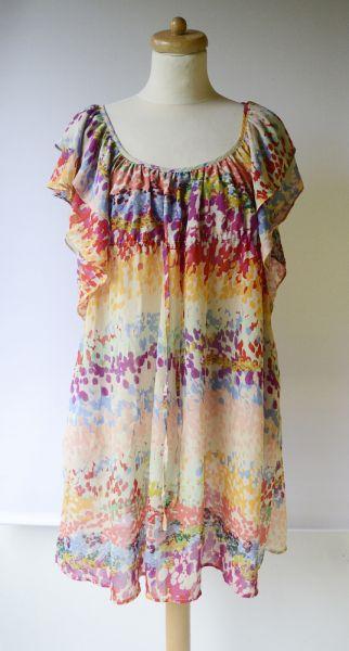 Suknie i sukienki Sukienka H&M Garden Kolorowa Plamki M 38 Falbanki