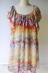 Sukienka H&M Garden Kolorowa Plamki M 38 Falbanki...