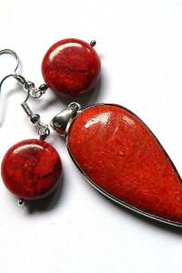 Koral czerwony wisiorek i koczyki zestaw biżuterii