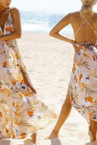 Wyprzedaż szafy długa sukienka w kwiaty rozmiar S