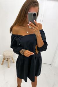 Czarna sukienka hiszpanka kwadratowy dekolt uniwersalna