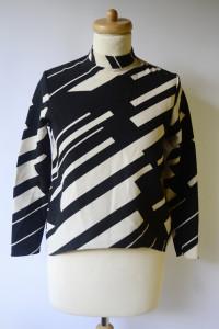 Bluzka XS 34 Zara Basic Wzory Elegancka Czarna Kremowa...