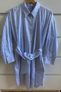 ZARA błękitna koszulowa sukienka z paskiem M