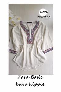 Bluzka Zara Basic boho hippie azteckie wzory S M bawełna