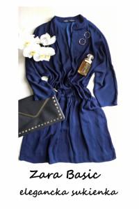 Granatowa kopertowa sukienka Zara Basic M L minimalizm elegancka