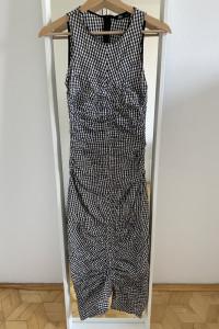 ZARA długa drapowana sukienka w kratę XS...