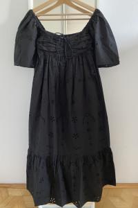 ZARA czarna ażurowa sukienka maxi M