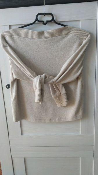 Swetry H&M beżowy milusi sweter krótki xs