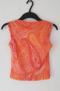 Bluzka bez rękawów pomarańczowa wzorzysta