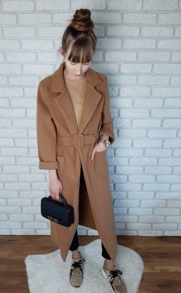 Odzież wierzchnia Płaszcz Jesienny Długi Maxi Camel Karmelowy 36 S