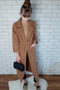 Płaszcz Jesienny Długi Maxi Camel Karmelowy 36 S