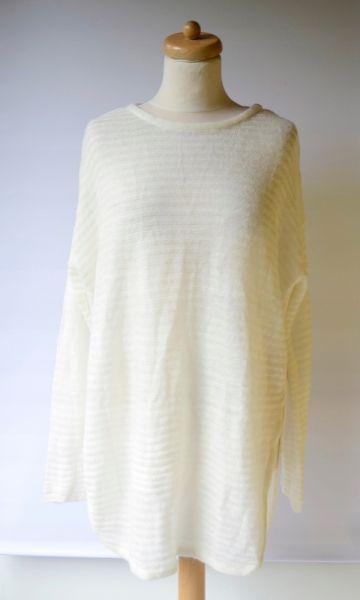 Swetry Sweter Oversize Kremowy Prążkowany L 40 Luzny