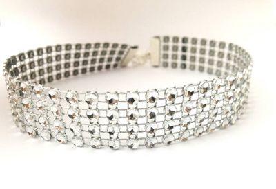 Naszyjniki Choker z kryształków kolor srebrny