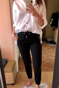 Czarne Spodnie Cygaretki...