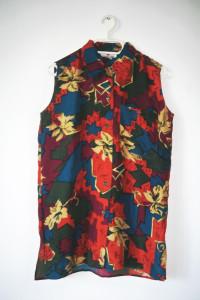 Kolorowa jedwabna bluzka jedwab oversize długa koszula vintage