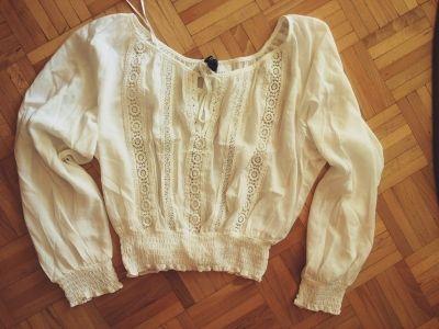 Bluzki koszula biała bluzka boho hippie H&M xs