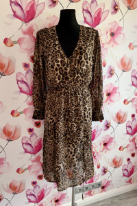 Boohoo sukienka midi modny wzór panterka nowa hit 42