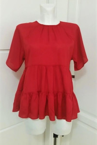 Czerwona bluzka falbany Asos