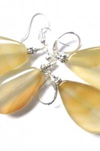 Żółto beżowe agaty kolczyki w srebrze...