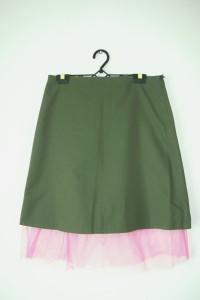 Zielona oliwkowa spódnica z różową siateczką rock