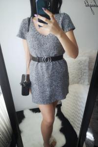 Quiosque Sukienka damska sweterkowa szara L 40