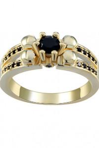 Nowy pierścionek złoty korol czarne cyrkonia masywny duży