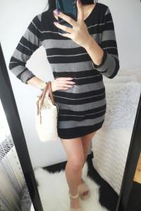 Reserved Sukienka damska sweterkowa w paski L 40