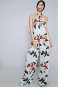 nowy z kwiatowy print wiązany na szyi z szerokimi nogawkami zwi...