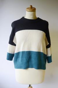 Sweter NOWY Paski Krótki Rękaw L 40 Akryl Krótki Top...