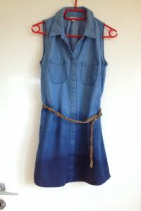 Sukienka jeansowa mini ombre diy farbowana ręcznie taliowana xs s 34 36