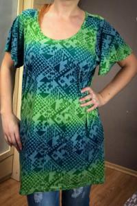 Zielona tunika sukienka w geometryczne wzory 46 lato XXXL Georg...