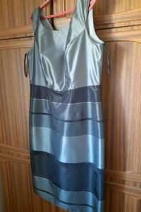 Sukienka nieużywana bez metki 44 szare srebrne i czarne paski
