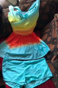Strój kąpielowy dla puszystej sukienka i szorty 5XL
