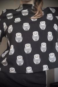Bluzka z wiskozy H&M w sowy ze złotym zamkiem i stójką M 40...