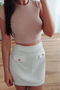 PLT biała dopasowana spódniczka w stylu lat 60 retro vintage tumblr lata 60s