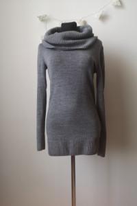 Miękki długi sweter damski H&M XS szary golf...