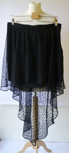 Spódnice Spódniczka Nowa Siateczka Czarna Dłuższy Tył XS 34 Lipsy