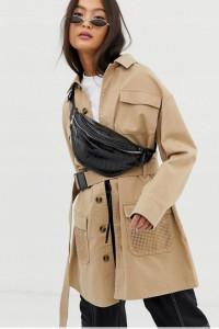 Bezowy stylowy płaszcz trencz xs