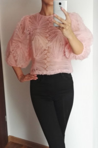 Różowa bluzka z bufkami ZARA 34...