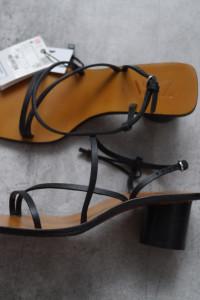 ZARA skórzane sandałki minimalizm na słupku 37 NOWE...