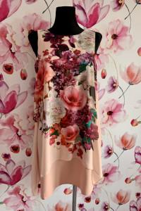 Wallis sukienka midi morelowa kwiaty floral jak nowa 36...
