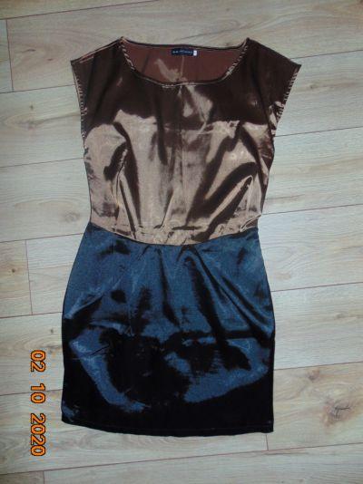 Suknie i sukienki BRĄZOWO CZARNA SUKIENKA S