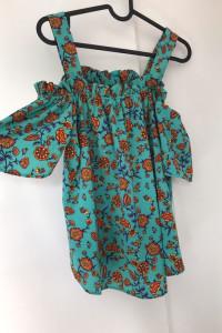 Bluzka hiszpanka kwiatowa turkus 40