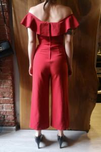 Czerwony kombinezon H&M 34 hiszpanka szerokie nogawki...