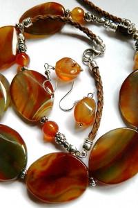 Agaty w kolorze jesieni piękna biżuteria zestaw 3 elementy...