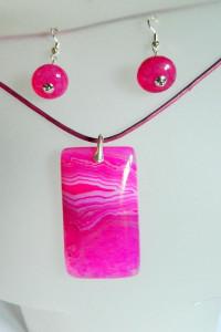 Różowe agaty i srebro uroczy zestaw biżuterii...