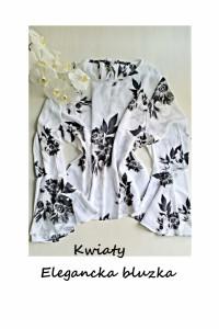 Elegancka bluzka w kwiaty rozszerzane rękawy XL XXL...