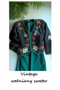 Wełniany rozpinany sweter L XL vintage wyszywane kwiaty...