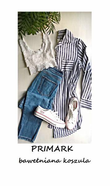 Koszule Długa koszula bawełna tunika w paski Primark S M