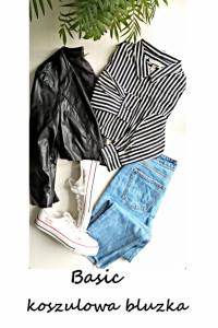 Elegancka koszulowa bluzka w paski basic minimalizm...